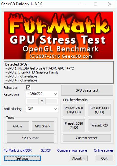 Тестирование видеокарты при помощи FurMark
