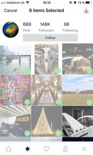 InstaSaver позволяет сохранять несколько фото одновременно