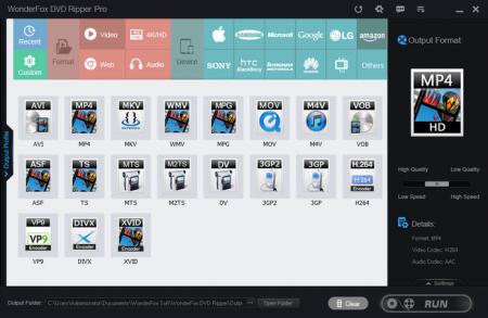 Многочисленные варианты видео и аудио форматов в DVD Ripper Pro Software
