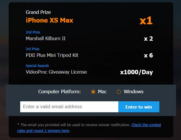 Конкурс на получение VideoProc и iPhone XS Max
