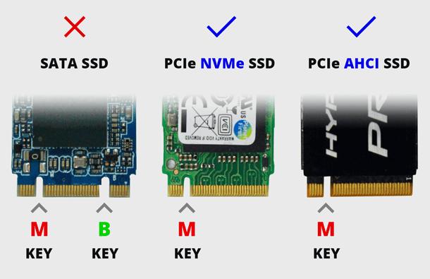 Ключи и подключение SSD SATA и NVMe