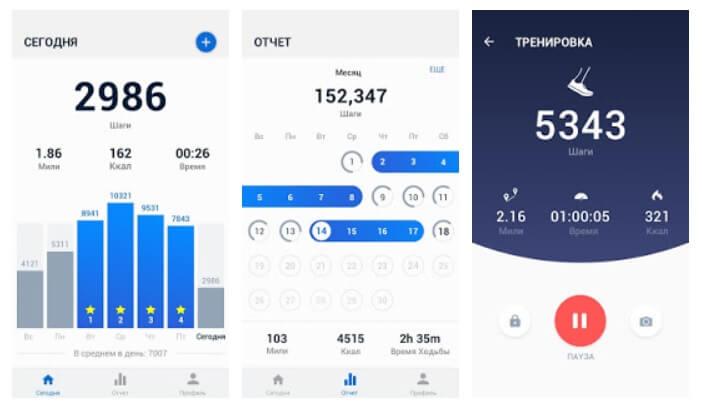 Главные возможности приложения Шагомер на Андроид телефоне