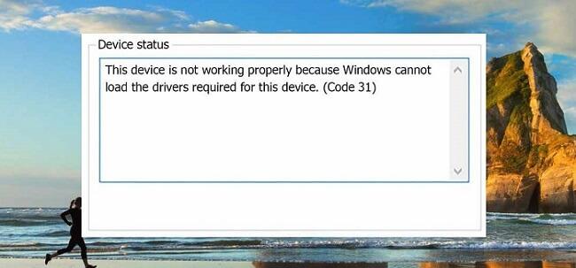 Код ошибки 31 - окно в Windows