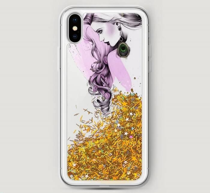 Чехол с жидкими золотистыми блестками на iPhone X и изображением девушки