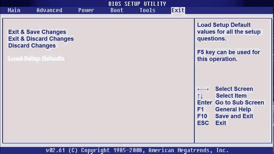 Сброс BIOS при неудачных изменениях настроек подсистемы