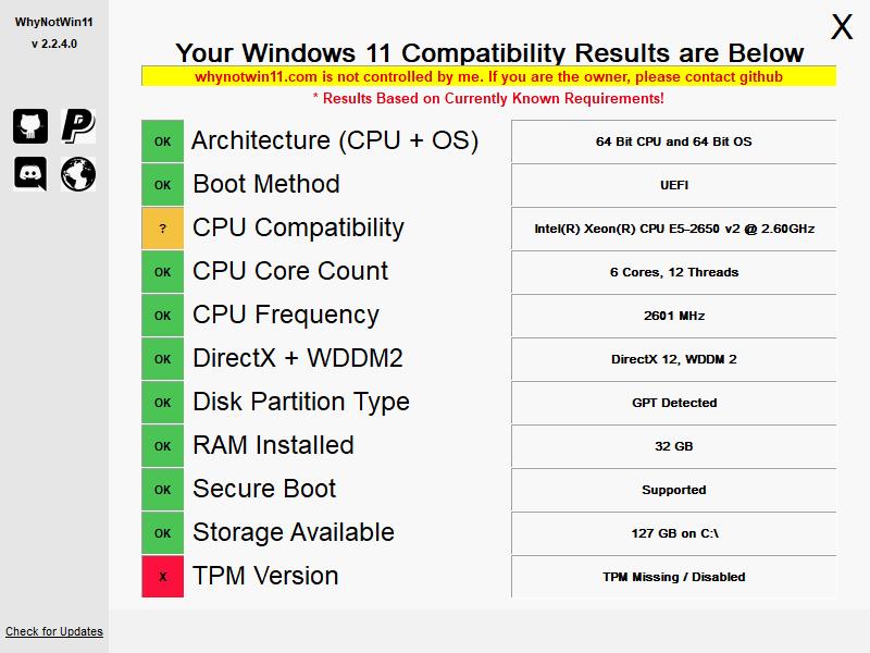 WhyNotWin11 - узнать поддержку Windows 11 на вашем компьютере