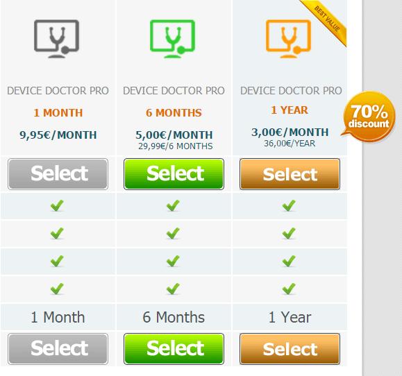 Цены за платную версию Device Doctor PRO