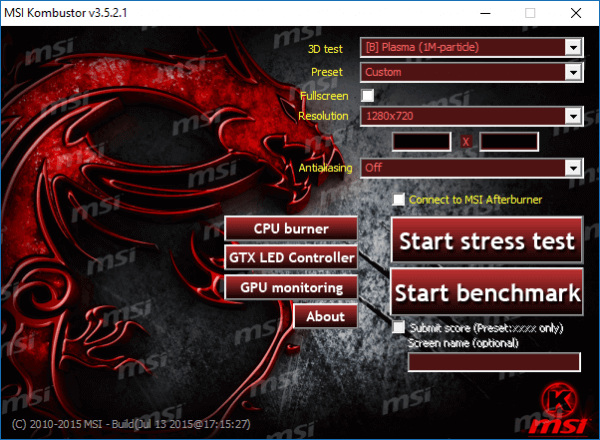 Стресс-тест видеокарт с помощью MSI Kombustor