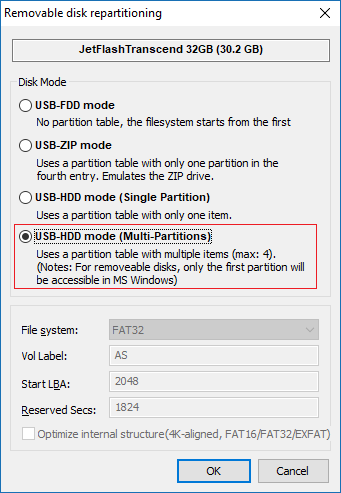 Выбираем USB-HDD mode (Multi-Partitions)