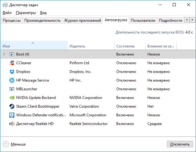 Долгая загрузка Windows 10 - Вкладка автозагрузка в диспетчере задач